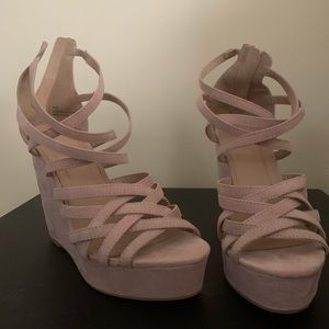 Pink wedge heel sandals